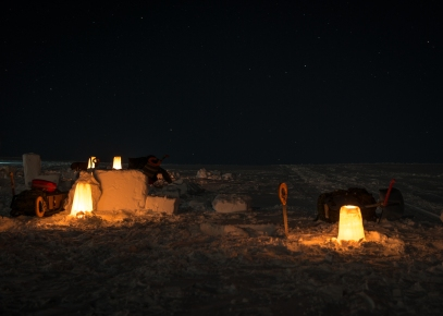 CX02-2016-0042-049 13 February, 2016 Crystal City (Resolute Bay), Nunavut. Arctic Candles, a night signalling devise, built by members of Canadian Forces School of Search and Rescue Course 49 during the Arctic Survival Phase in Crystal City, Nunavut, on 13 February, 2016. Image by Corporal Létourneau PJJ 19 Wing Imaging © 2016, DND-MDN Canada